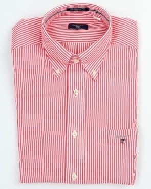 Gant Poplin Banker Striped Shirt Bright Red