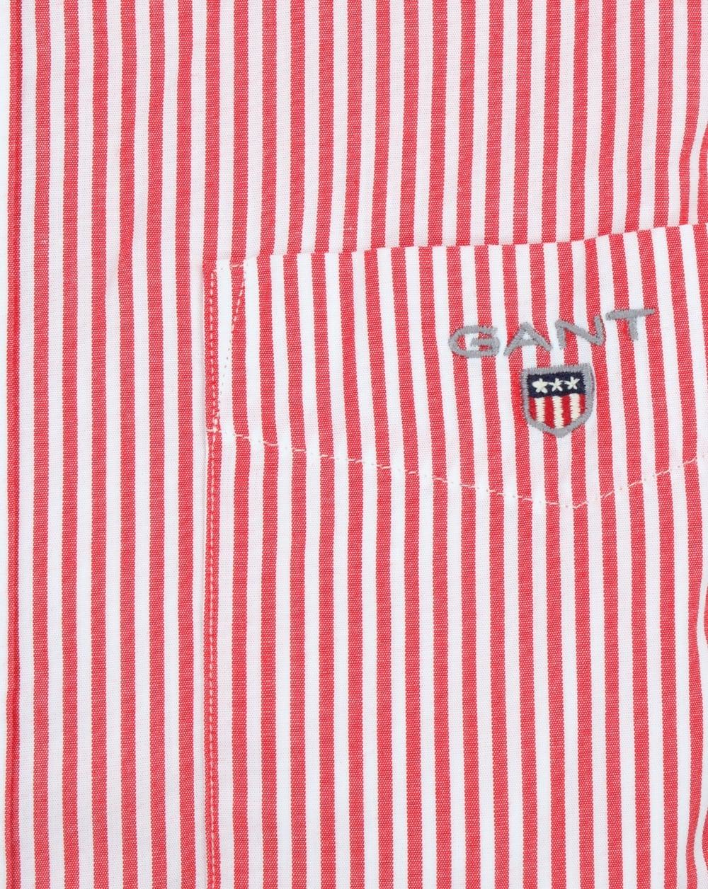 70aee971dd Gant Poplin Banker Striped Shirt Bright Red | 80s casual classics