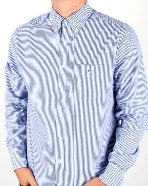 Gant Poplin Banker Striped Shirt Yale Blue