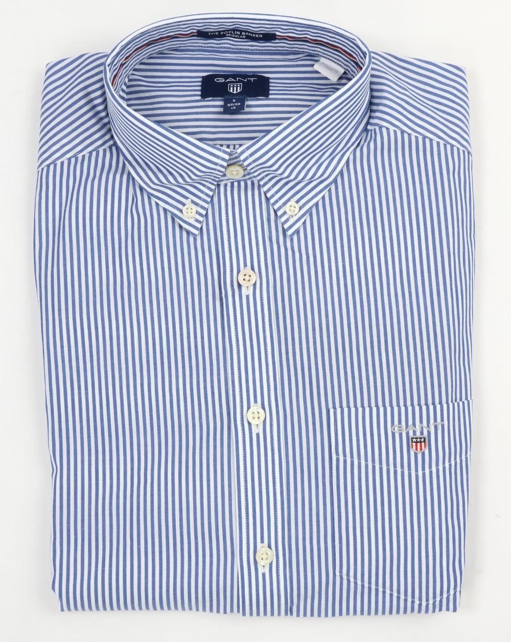 e9933141e0 Gant Poplin Banker Striped Shirt Yale Blue | 80s casual classics