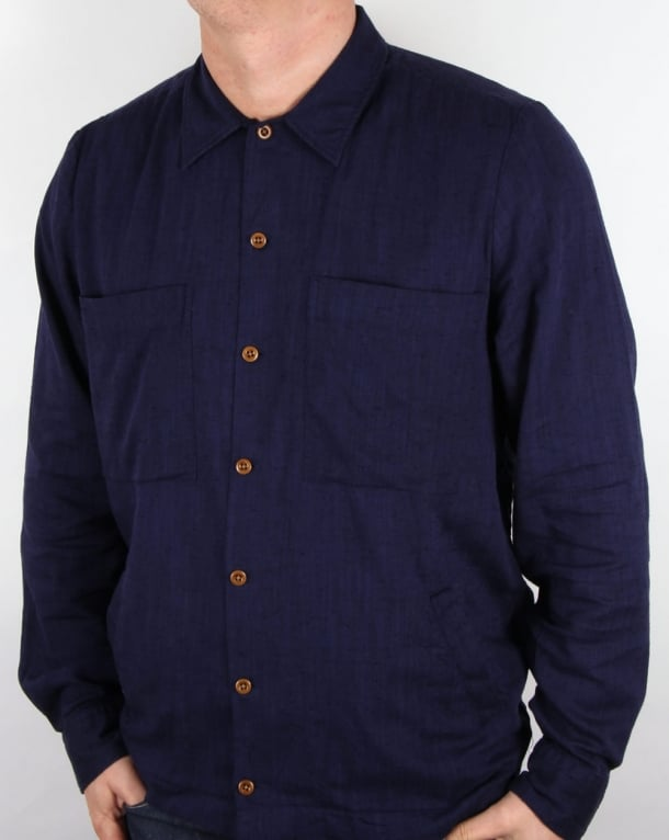 Gant Rugger Slub Shirt Jacket Shadow Blue