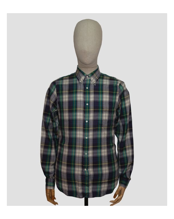 Gant Rugger Windblown Twill Check Shirt Dragon Blue