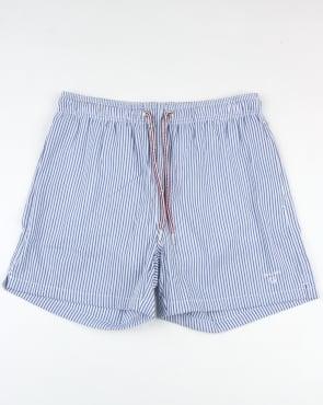 Gant Seersucker Swim Shorts Yale Blue
