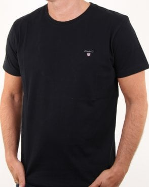 Gant Solid Crew Neck T Shirt Black