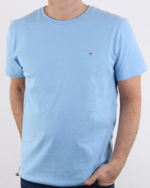 Gant Solid Crew Neck T Shirt Capri Blue