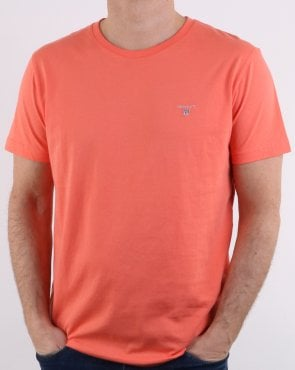 Gant Solid Crew Neck T Shirt Coral