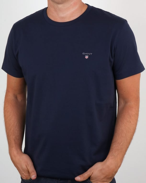 f3fd974ce3e506 Gant Solid Crew Neck T Shirt Navy | 80s casual classics