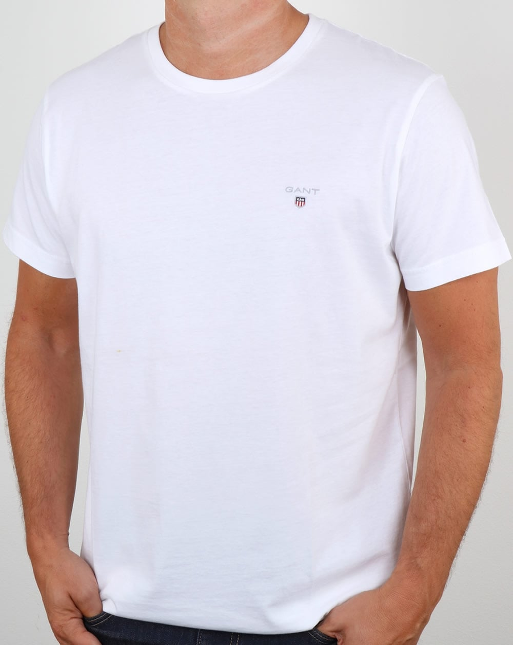Gant solid crew neck t shirt white tee round cotton mens for Crew neck white t shirt