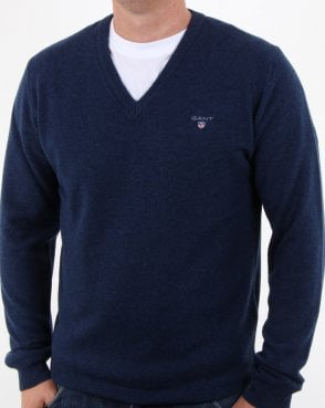 Gant Super Fine Lambswool V-neck Dark Cobalt Blue