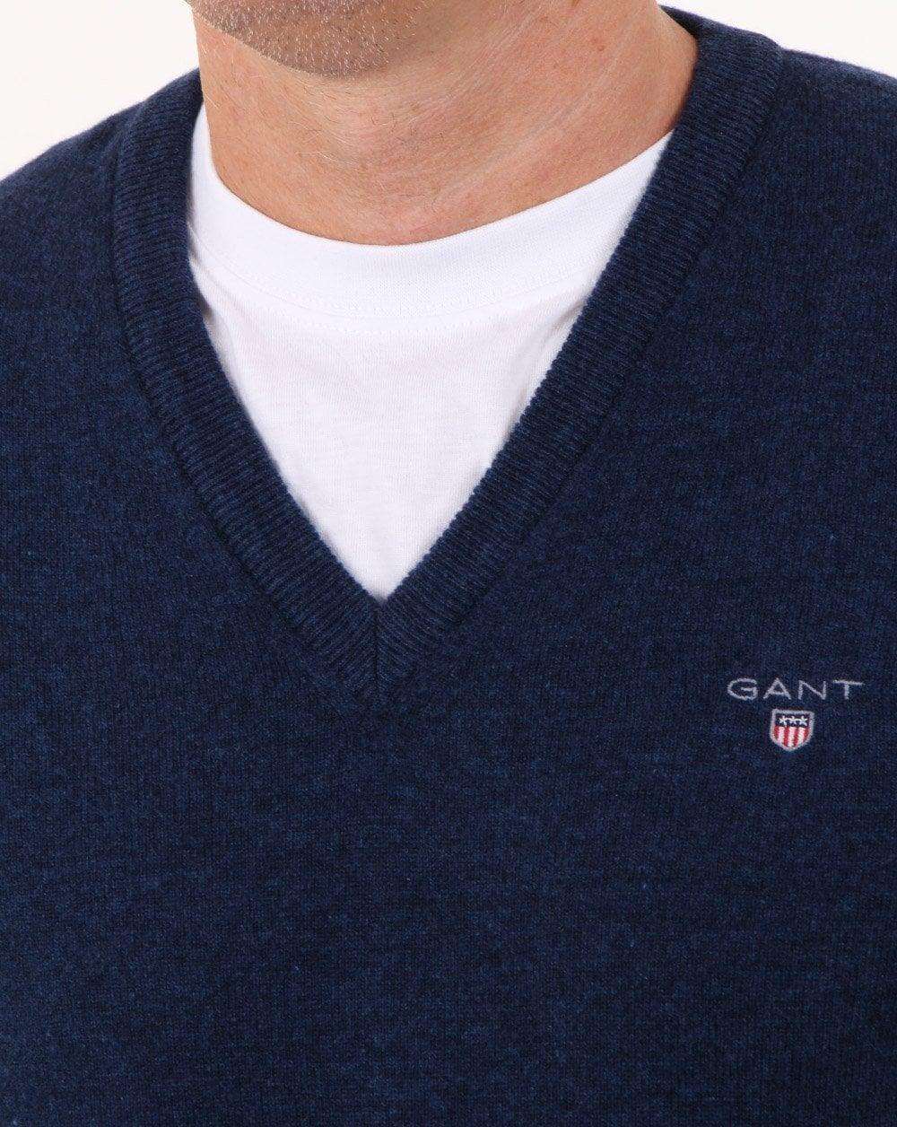 69fdbe9d5a Gant Super Fine Lambswool V-neck Cobalt Blue   80s casual classics