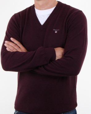 Gant Super Fine Lambswool V-neck Jumper Dark Burgundy