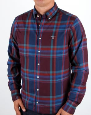 Gant Tech Prep Wool Big Check Shirt Port Red