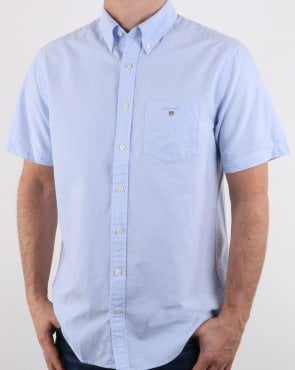 Gant The Oxford Shirt Reg Short Sleeve Shirt Capri Blue