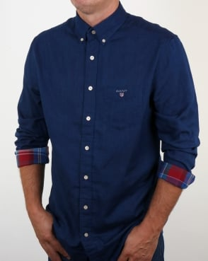 Gant Winter Double Face Check Shirt Dark Indigo