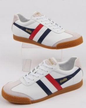 Gola Harrier Leather Trainer White/navy/red