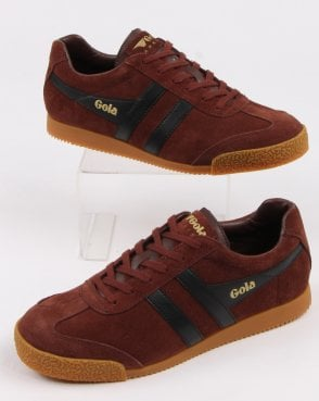 Gola Harrier Suede Trainer Cognac/black