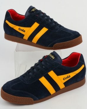 Gola Harrier Suede Trainer Navy/Yellow/Red