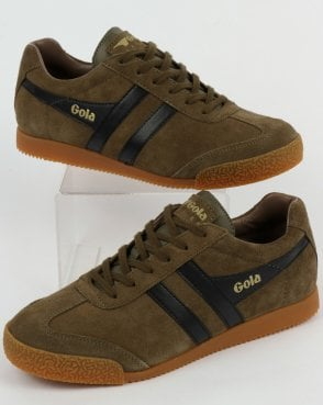 Gola Harrier Suede Trainers Khaki/Black/Stone