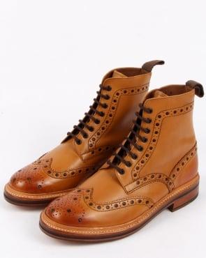 Grenson Fred Brogue Boots Tan