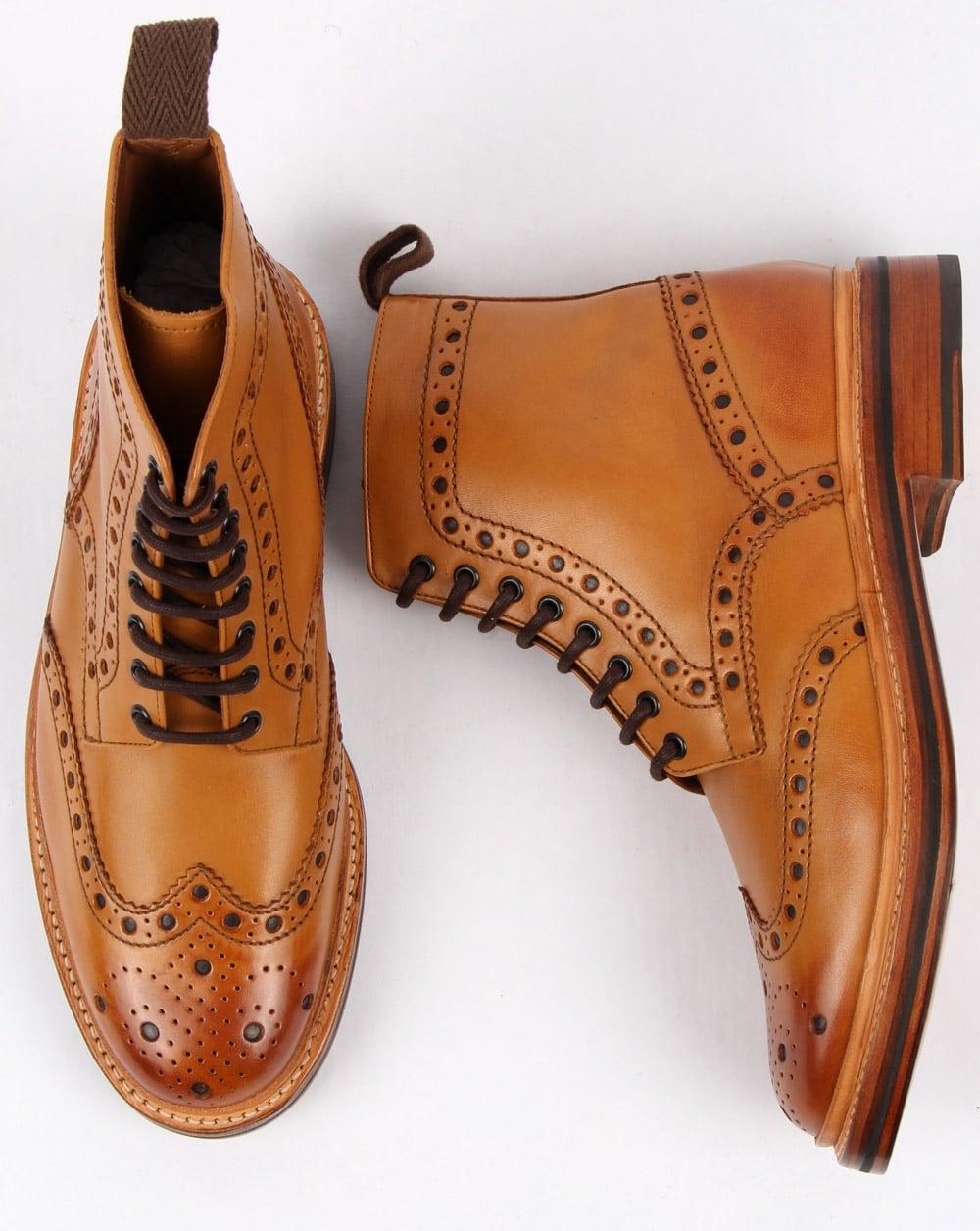 0735c6c3c1c Grenson Fred Brogue Boots Tan