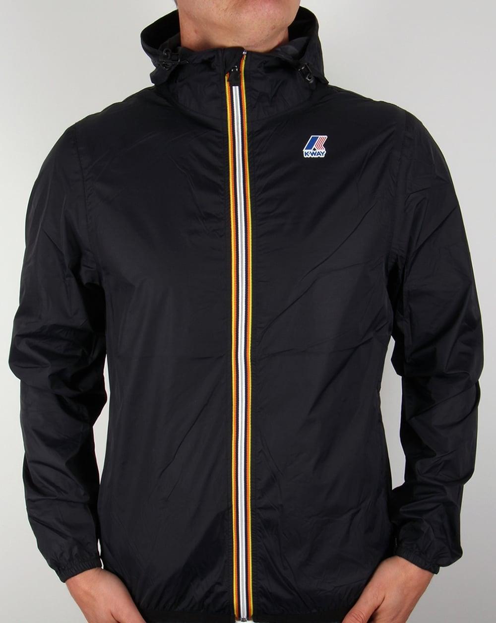k way claude 3 0 rainproof jacket black windbreaker coat pac a mac full zip. Black Bedroom Furniture Sets. Home Design Ideas