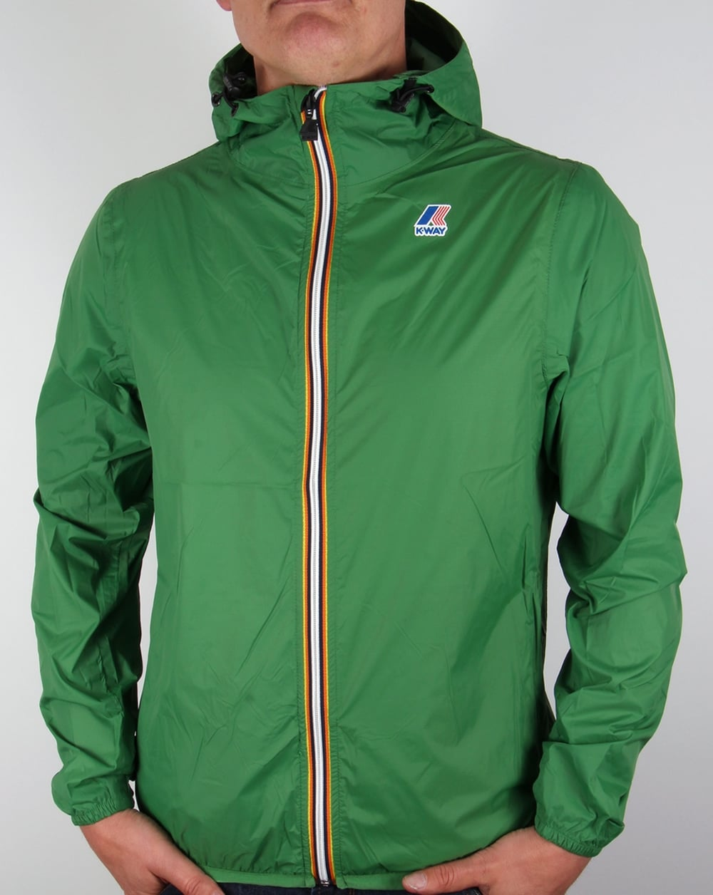 k way claude 3 0 rainproof jacket greenwindbreaker coat pac a mac full zip