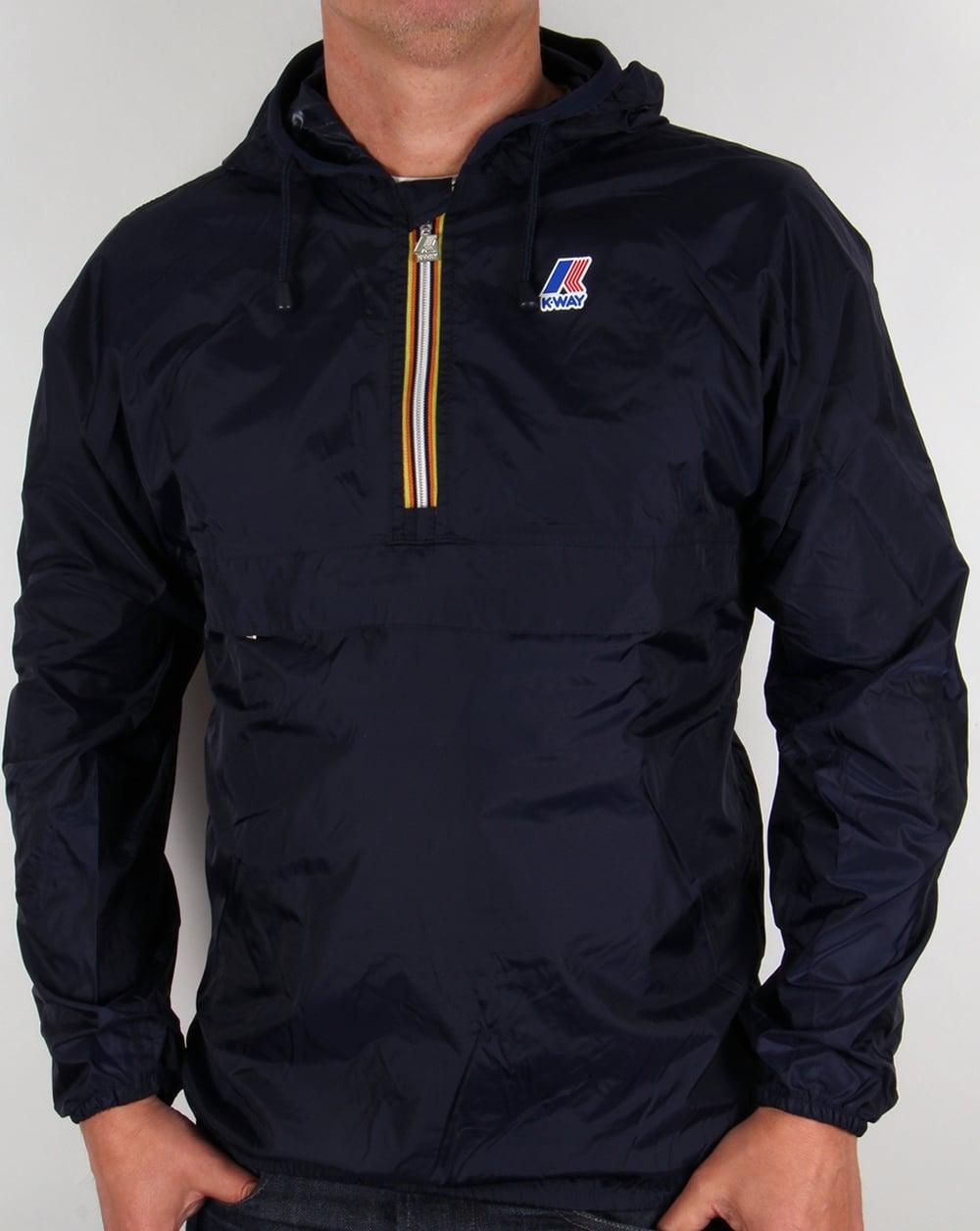 k way leon half zip rainproof jacket navy coat pac a mac mens. Black Bedroom Furniture Sets. Home Design Ideas