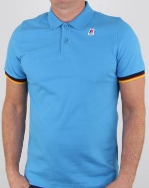 K-way Vincent Contrast Polo Shirt Azure Blue