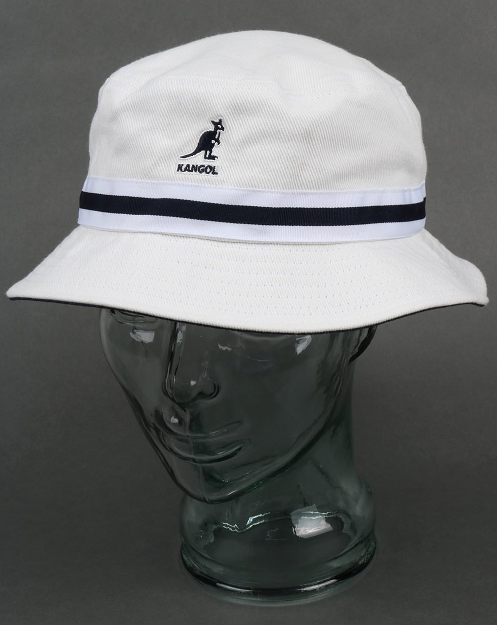 White Kangol Stripe Lahinch Bucket Hat