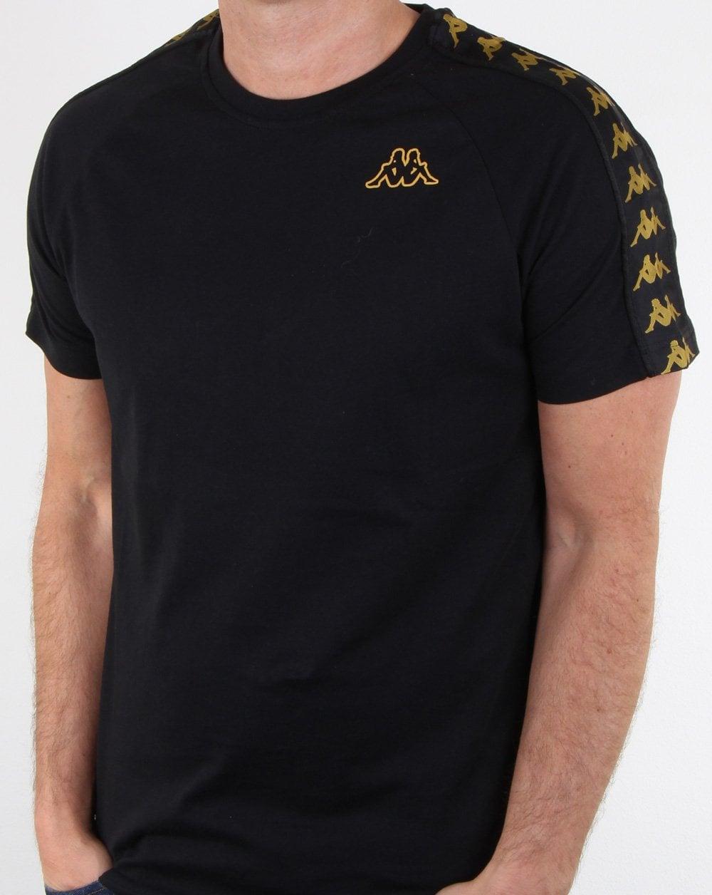 c89c1601 Kappa, Banda Coen T-shirt, Black/gold   80s casual classics