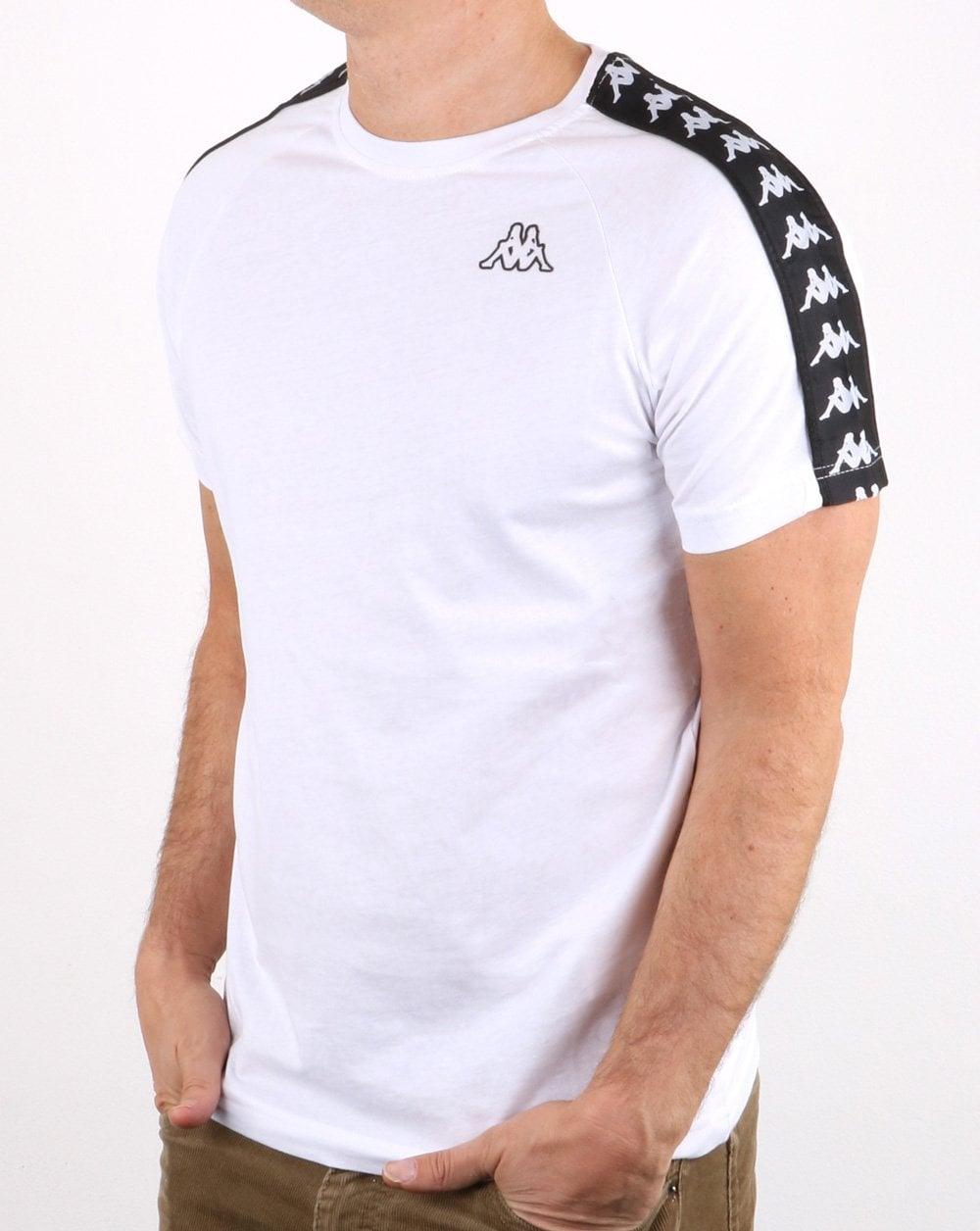 64af3ed7 Kappa, Banda Coen T-shirt, White Black, Mens, Taping, Sport, Cotton