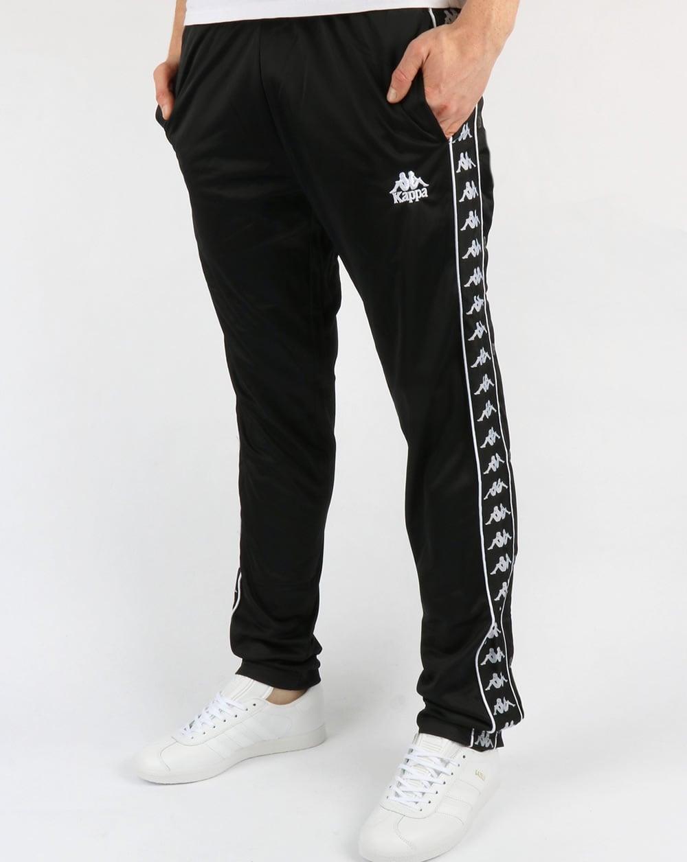 kappa hector popper track pants black tracksuit bottoms stud. Black Bedroom Furniture Sets. Home Design Ideas