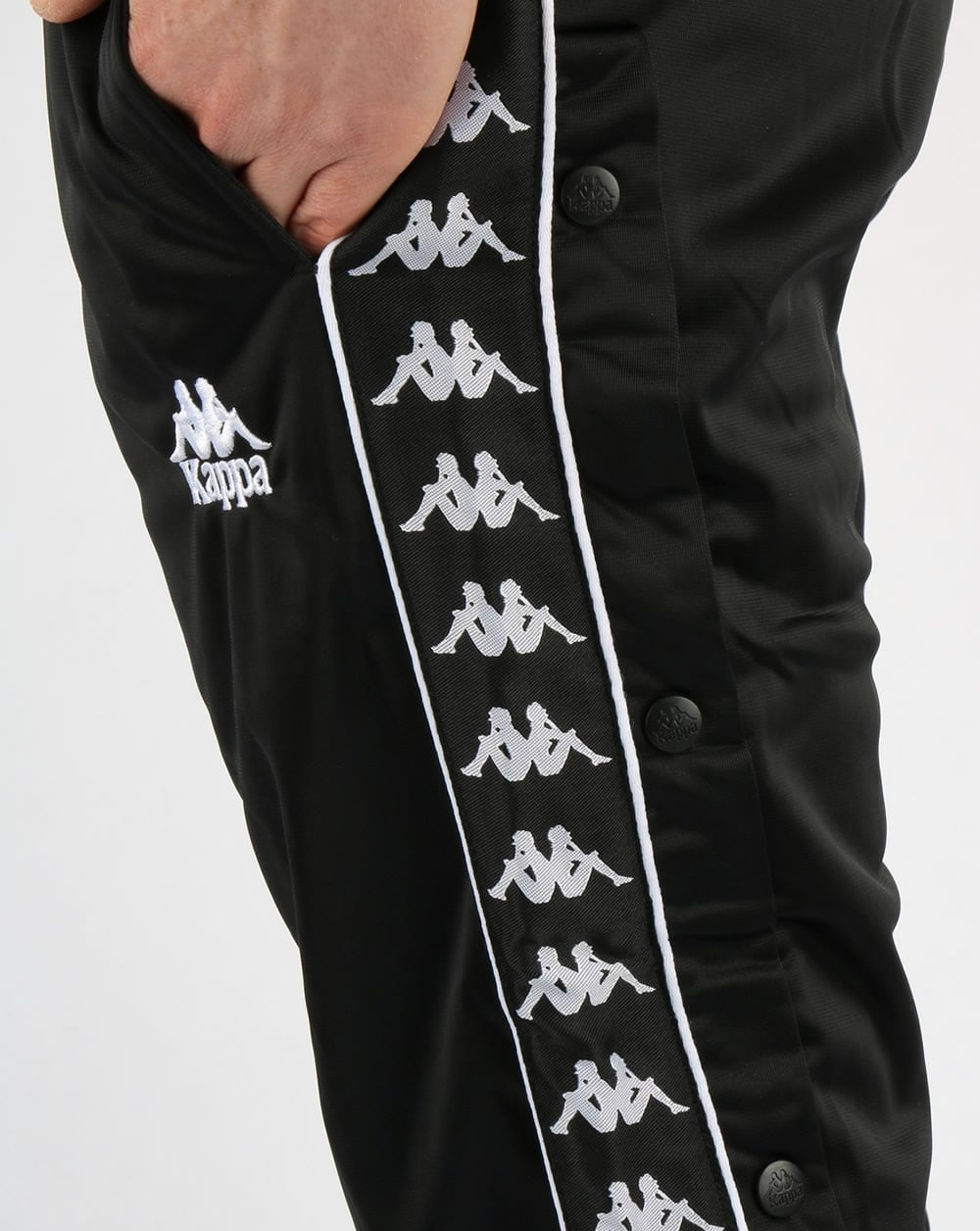 Kappa hector popper track pants black tracksuit bottoms stud for Classic uk house tracks