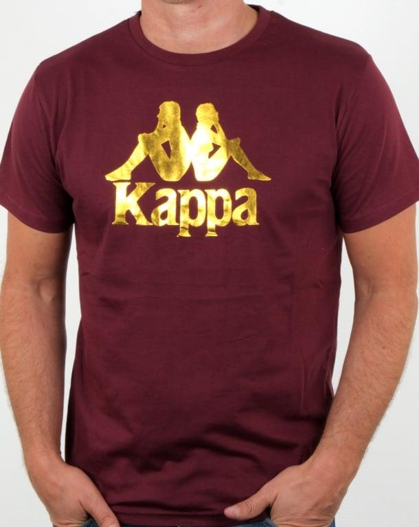 Kappa Estessi T Shirt Burgundy/gold
