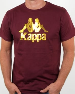 Kappa Estessi T Shirt Burgundy/gold