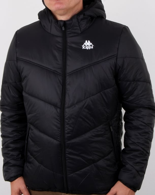 Kappa Ramos Jacket Black Mens Quilted Padded Hood