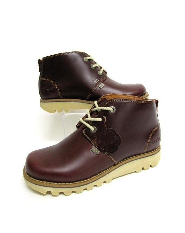 Kickers Chukka Boots In Leather Dark Red