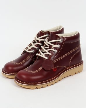 Kickers Kick Hi Boots In Leather Cherry Brown