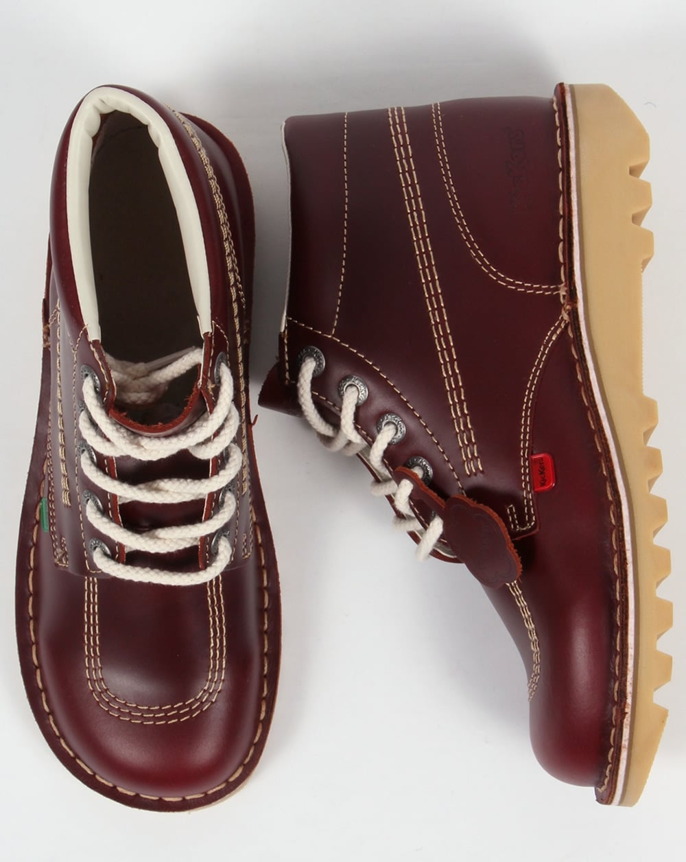 Kickers Kick Hi Boots In Leather Cherry Brown - 0