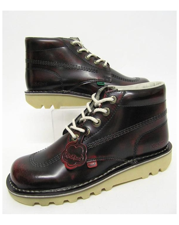 Kickers Kick Hi Boots In Leather Dark Oxblood