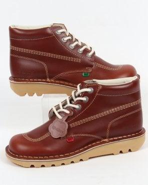 22f88607d5a Kickers Kick Hi Boots In Leather Dark Tan