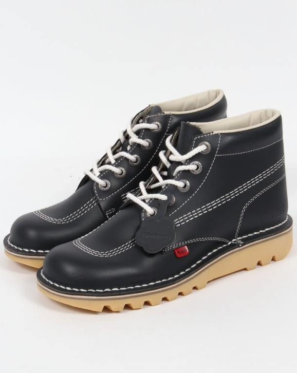 Kickers Kick Hi Boots In Leather Navy