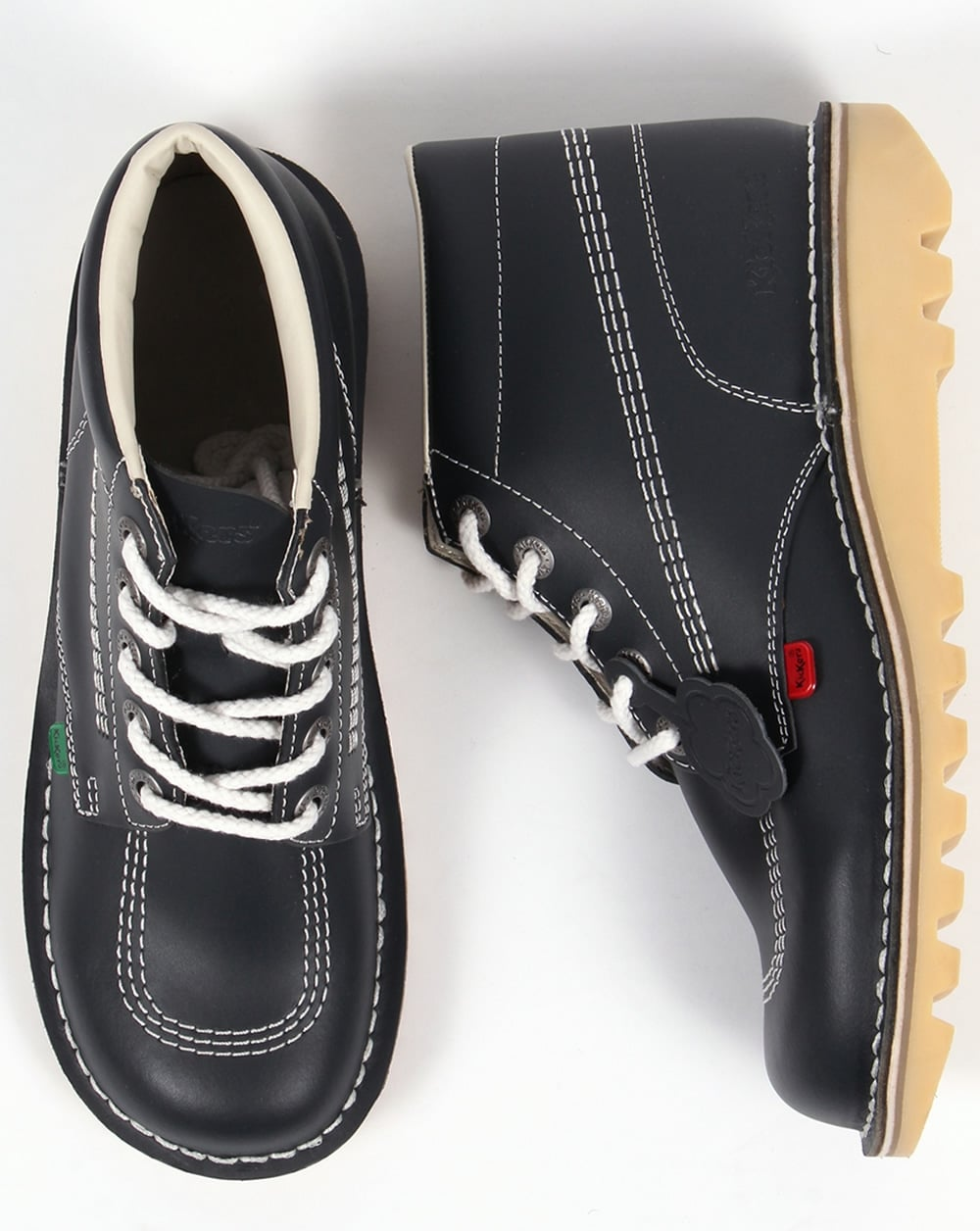 432094234c Kickers Kick Hi Boots In Leather Navy