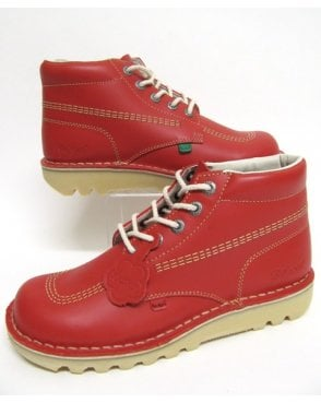 Kickers Kick Hi Boots In Leather Red
