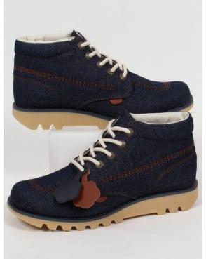 Kickers Kick Hi Denim Boots Dark Blue