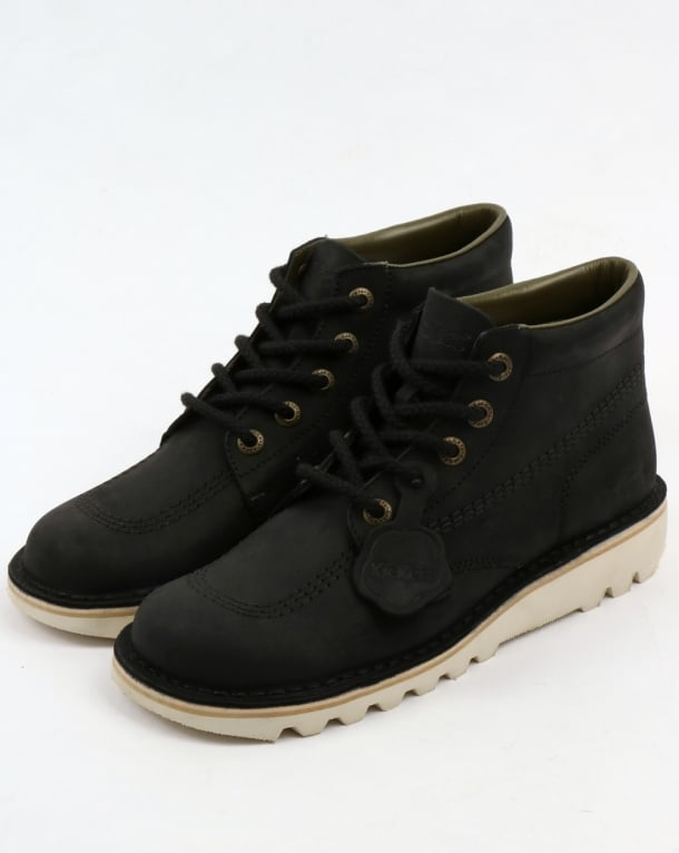 Kickers Kick Hi Leather Boots Black/Cream,shoe,chunky,mens