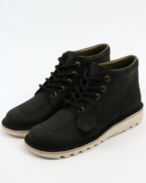 Kickers Kick Hi Leather Boots Black/Cream
