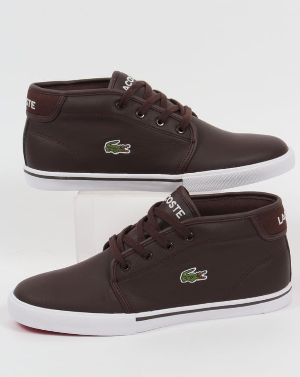 Lacoste Ampthill Leather Trainers Dark Brown