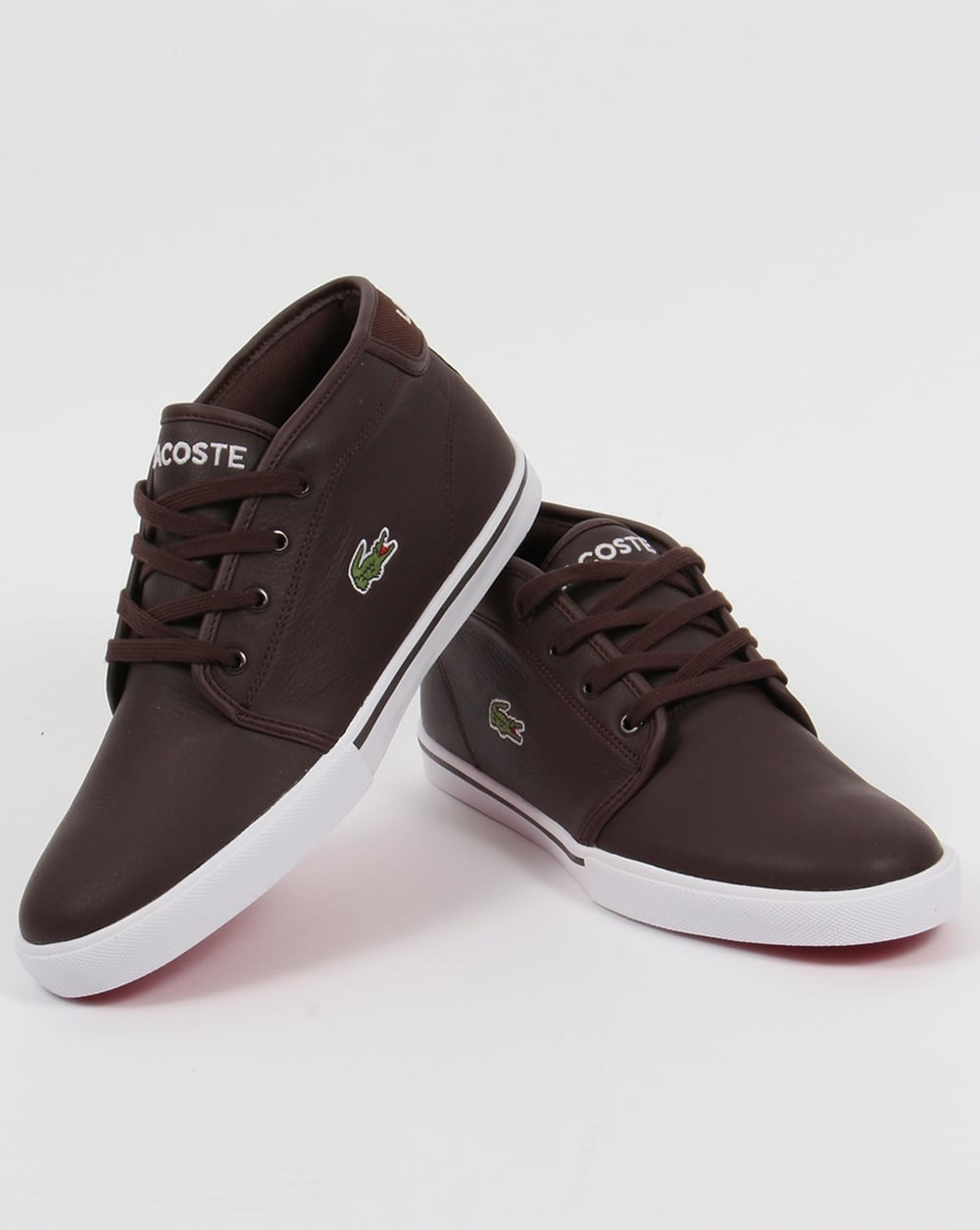 d56e4ec5de15 Lacoste Ampthill Leather Trainers Dark Brown
