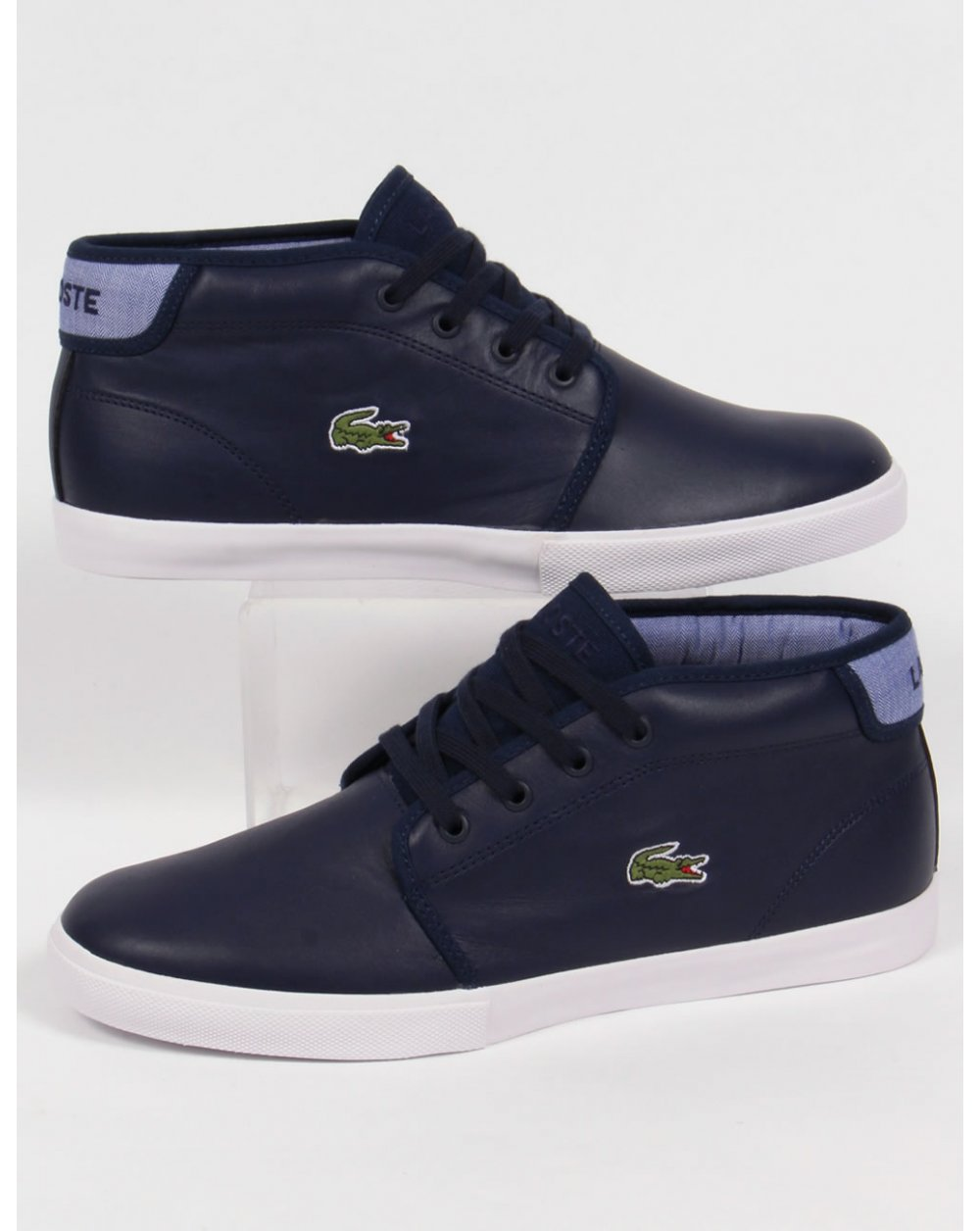 Lacoste Ampthill Leather Trainers Navy Blue Boots Shoes